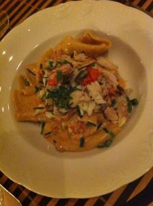 Pasta med färsk krabba