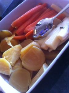 Sous vide kokta rotfrukter