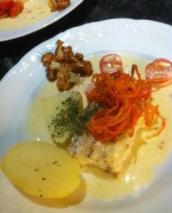 Kummelfilé med vitvins-och tomat
